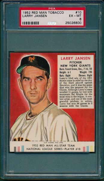 1952 RED MAN #10 LARRY JANSEN PSA 6