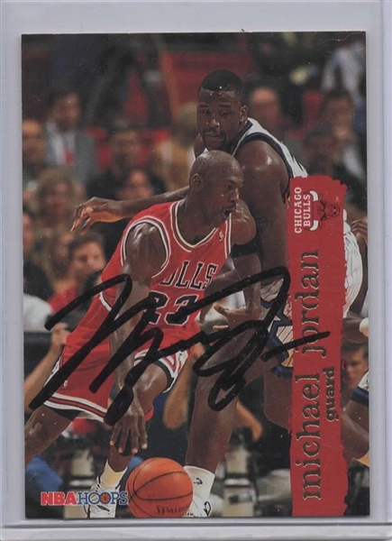 1995-96 NBA HOOPS #21 MICHAEL JORDAN SIGNED CARD!