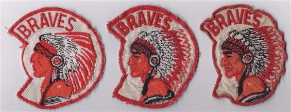 VINTAGE BRAVES JERSEY PATCHES LOT OF 3