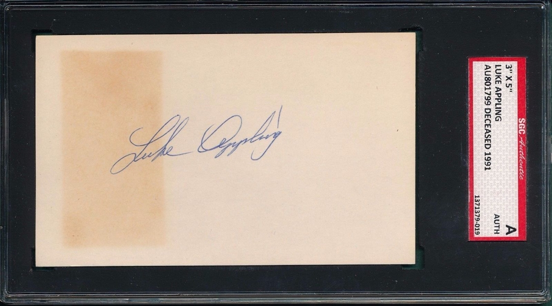 LUKE APPLING SIGNED 3X5 INDEX CARD SGC 7X ALL-STAR 2X BATTING CHAMP HALL OF FAME