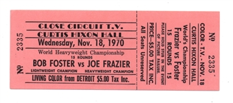 1970 BOB FOSTER JOE FRAZIER WORLD HEAVYWEIGHT CHAMPIONSHIP FIGHT TICKET