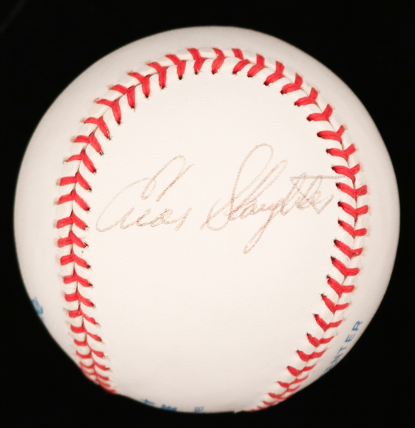 ENOS SLAUGHTER SIGNED OAL BOBBY BROWN BASEBALL JSA
