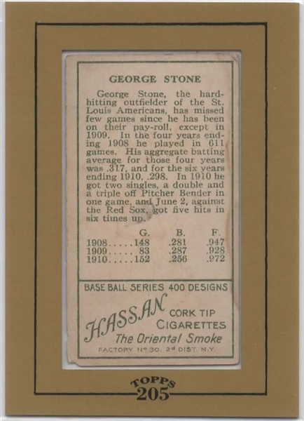 T205 1911 HASSAN GEORGE STONE SEALED BY 2003 TOPPS T205