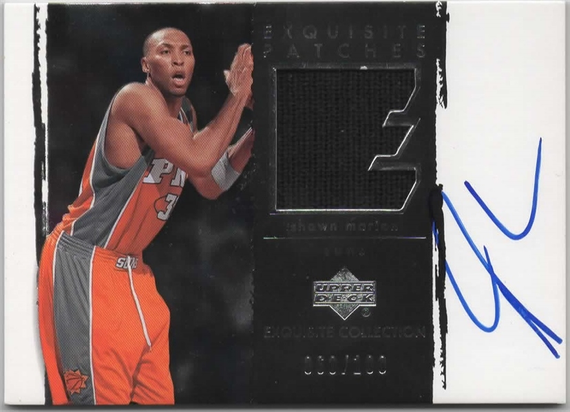 2003-04 UD EXQUISITE COLLECTION PATCHES G/U & SIGNED #AP-SH SHAWN MARION /100