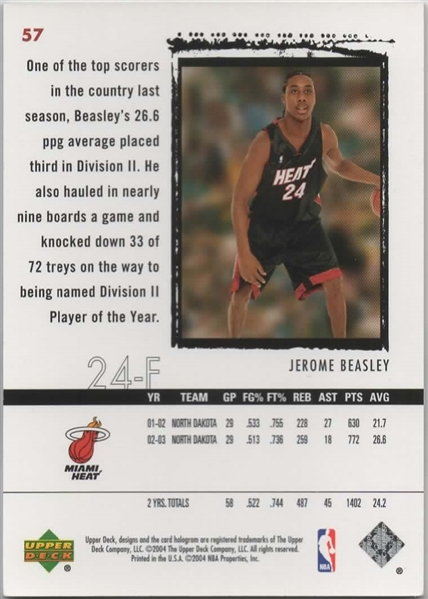 1/1 2003-04 UD EXQUISITE COLLECTION ROOKIE #57 JEROME BEASLEY 1/1