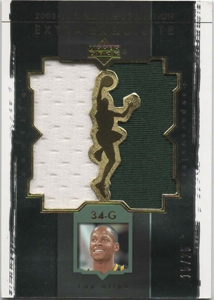 2003-04 UD EXTRA EXQUISITE COLLECTION GAME USED PATCH RAY ALLEN 15/25