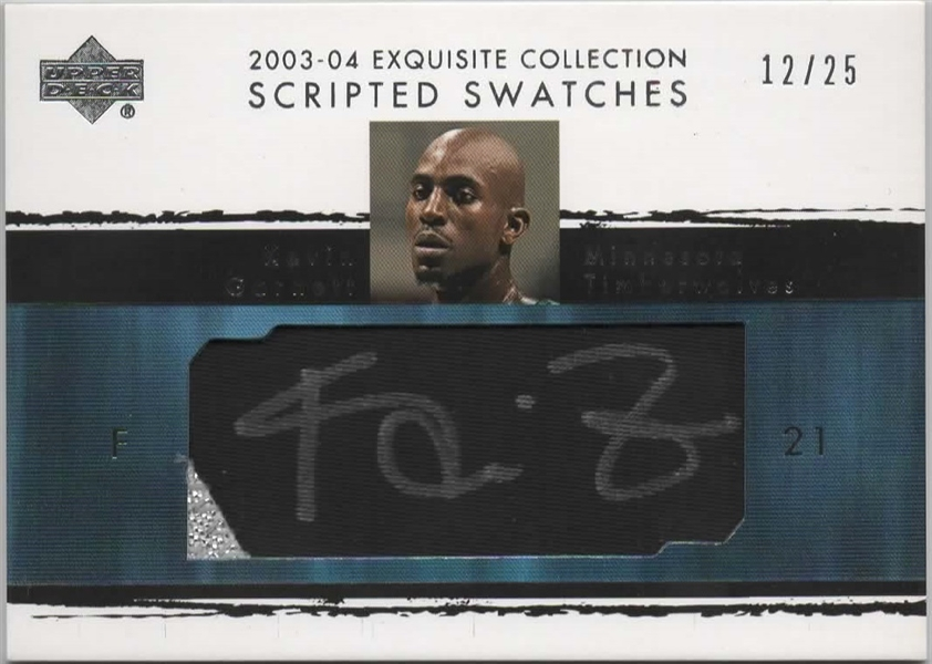 2003-04 UD EXQUISITE COLLECTION SCRIPTED SWATCHES KEVIN GARNETT /25