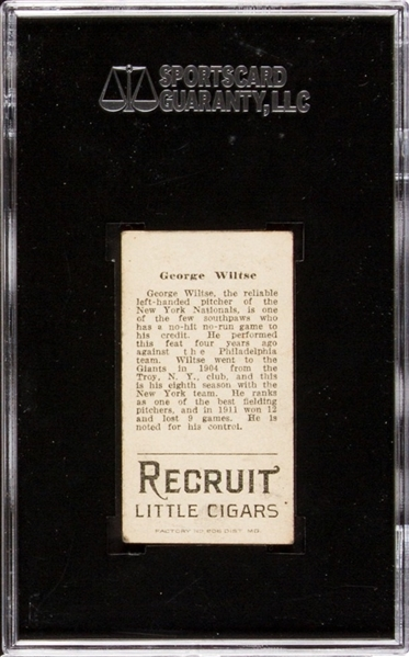 1912 T207 RECRUIT GEORGE WILTSE EX 5 SGC 60
