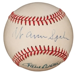 WARREN SPAHN & STEVE CARLTON SIGNED ONL BASEBALL