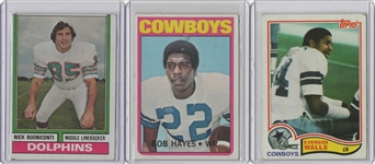 --VINTAGE LOT OF 3 FOOTBALL HALL OF FAMERS,HAYES,WALLS,BUONICONTI.