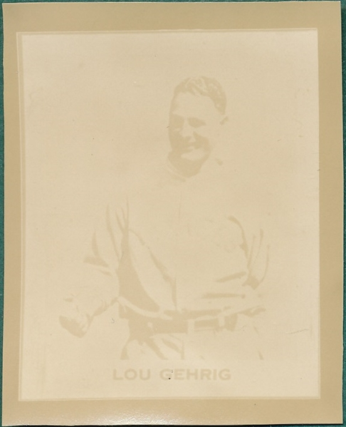 1930 RAY-O-PRINT LOU GEHRIG HALL OF FAME NEW YORK YANKEES