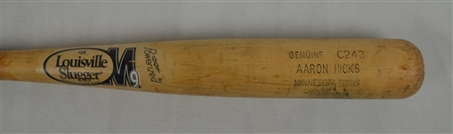 AARON HICKS GAME USED M9 LOUISVILLE SLUGGER BASEBALL BAT