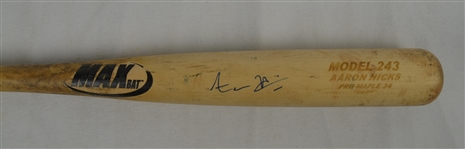 AARON HICKS GAME USED & SIGNED MODEL 243 PERSONAL MAX BAT