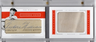 2016 PANINI NATIONAL TREASURES LEGENDS CUTS TED WILLIAMS SIGNED CHECK & GAME USED JERSEY SWATCH! 2/10
