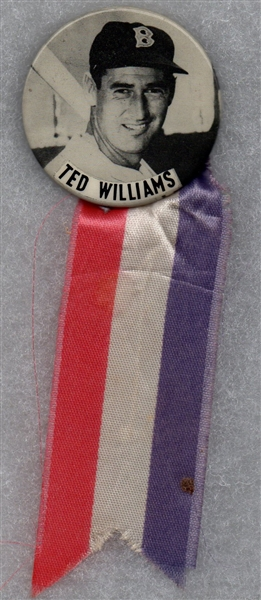 1950's PM10 TED WILLIAMS PIN WITH RED WHITE & BLUE RIBBON