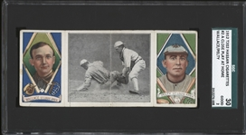 1912 T202 HASSAN TRIPLE FOLDERS A CLOSE PLAY AT HOME WALLACE PELTY SGC 2