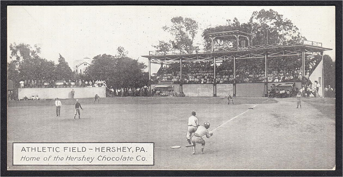CIRCA 1910'S HERSHEY CHOCOLATE CO. ATHLETIC FIELD POSTCARD