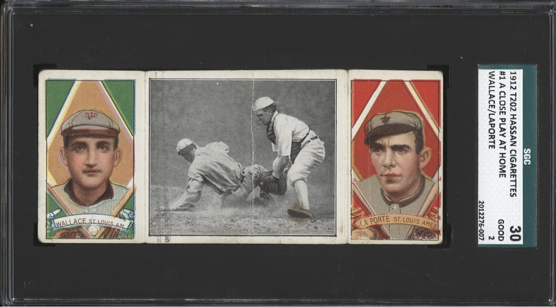 1912 T202 HASSAN TRIPLE FOLDERS A CLOSE PLAY AT HOME WALLACE LAPORTE SGC 2