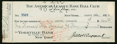 1924 JACOB RUPPERT & ED BARROW HOF DUAL SIGNED NEW YORK YANKEES CHECK JSA LOA