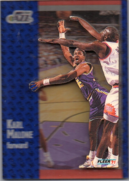 --- KARL MALONE 91-92  Fleer #201 3D ACRYLIC MAIL-IN REDEMPTION SSP !