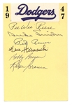 1947 BROOKLYN DODGERS HALL OF FAMERS & STARS SIGNED INDEX CARD