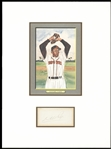 SATCHEL PAIGE SIGNED CUT SIGNATURE & PICTURE DISPLAY MATTED JSA LOA
