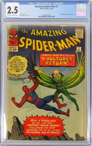 1963 THE AMAZING SPIDER-MAN #7 THE VULTURE CGC 2.5