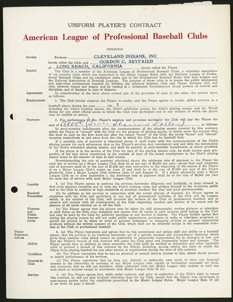 1963 CLEVELAND INDIANS PLAYERS CONTRACT GORDON SEYFRIED SIGNED JOE CRONIN GABE PAUL