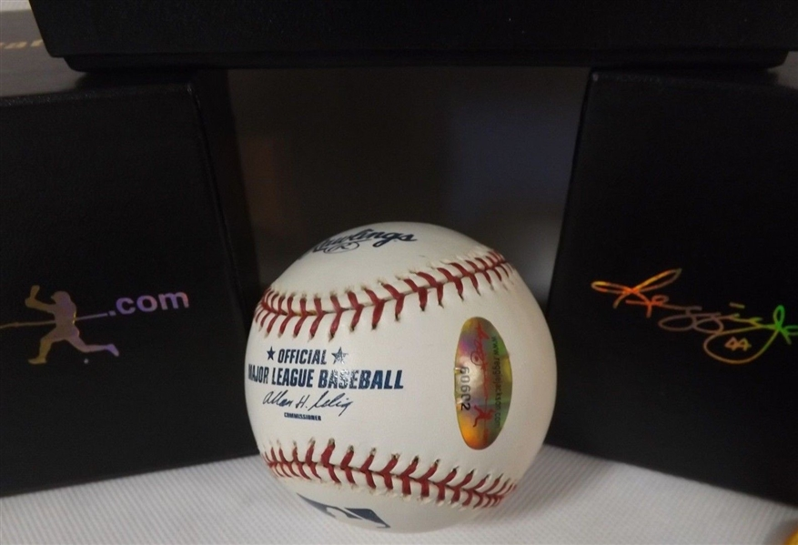 BOB FELLER SIGNED & INSCRIBED LOT OF 2 OML BASEBALLS REGGIE JACKSON COA'S
