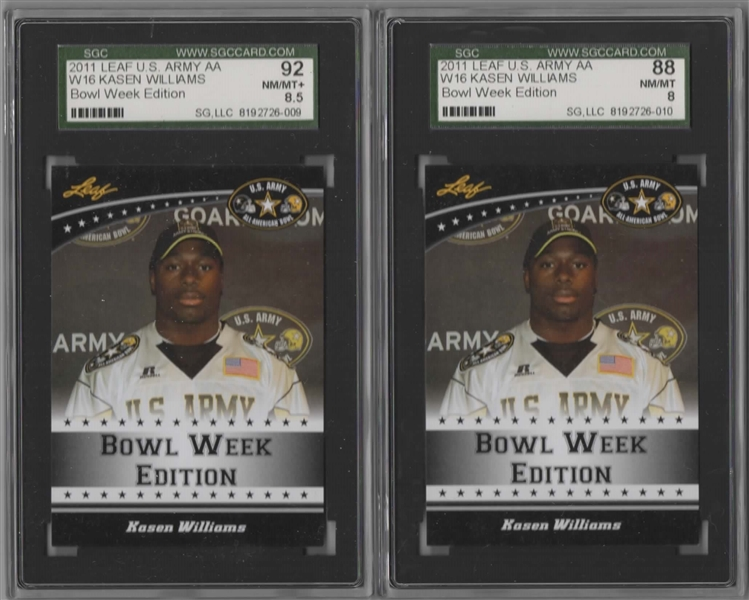2011 LEAF U.S. ARMY AA W16 KASEN WILLIAMS PRE-RC LOT SGC 8 & 8.5