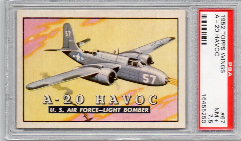 --1952 TOPPS WINGS #67 A-20 HAVOC NM+ PSA 7.5