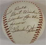 -OFFICIAL NATIONAL LEAGUE BASEBALL SIGNED BY CLAUDE OSTEEN