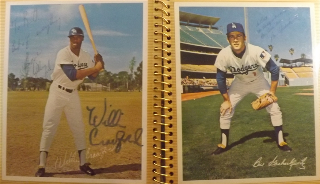 - PHOTO ALBUM FILLED WITH (18) AUTOGRAPHS OF BASEBALL HOF'S & STARS KOUFAX DRYSDALE GIBSON SUTTON