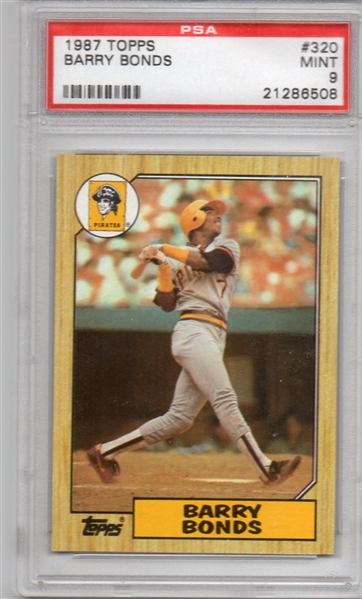 ---1987 Topps Barry Bonds Pittsburgh Pirates #320 PSA 9