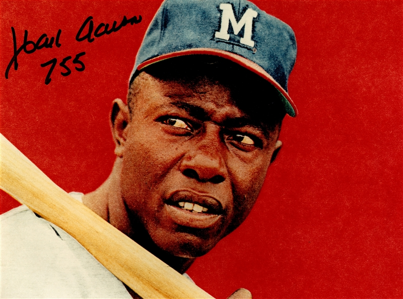 HANK AARON SIGNED & INSCRIBED PHOTO
