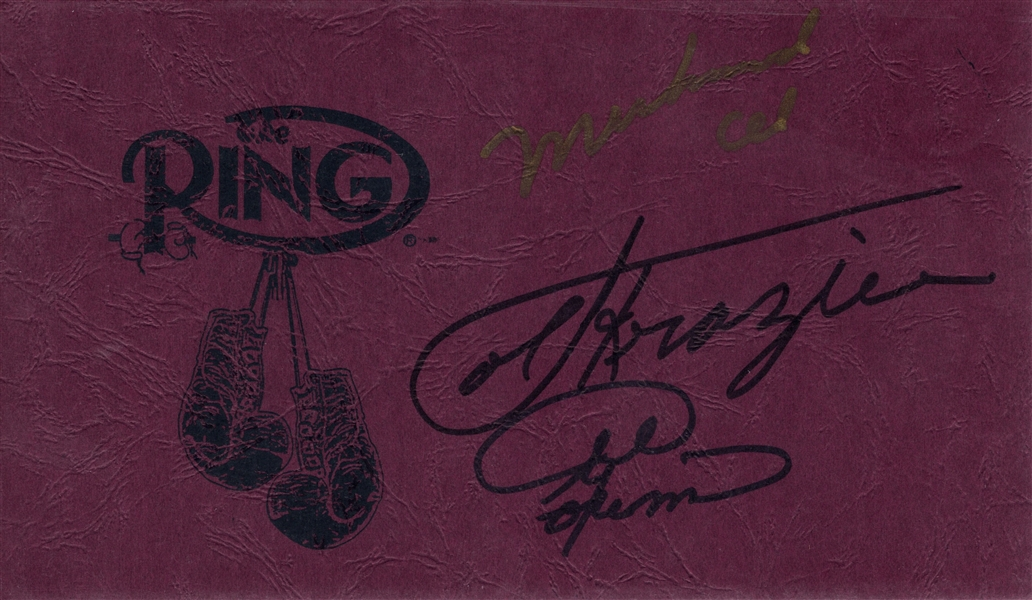 MUHAMMAD ALI JOE FRAZIER & GEORGE FORMAN SIGNED THE RING AUTO CARD