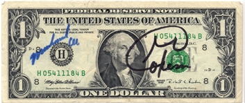 DOLLAR BILL SIGNED BY GEORGE FORMAN & MUHAMMAD ALI