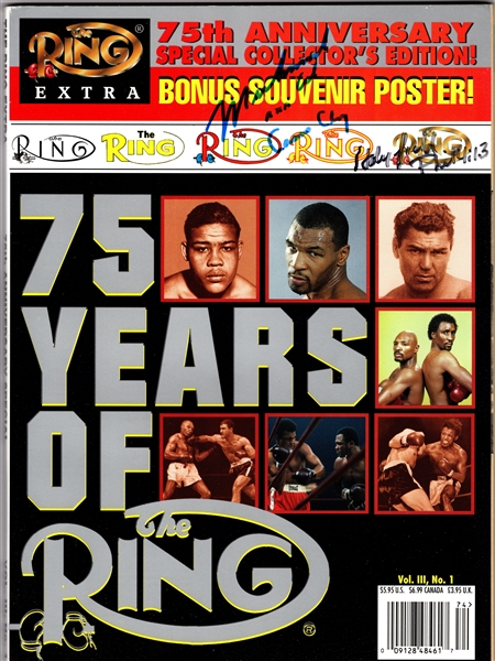 RING MAGAZINE 75TH ANV. SIGNED MUHAMMAD ALI AKA CASSIUS CLAY & HOLYFIELD