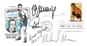 MUHAMMAD ALI, SCHMELING, HOLYFIELD, FOREMAN, MOORER SIGNED JOE LOUIS FIRST DAY ISSUE
