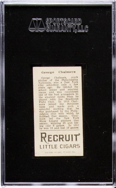 1912 T207 RECRUIT GEORGE CHALMERS EX+ 5.5 SGC 70