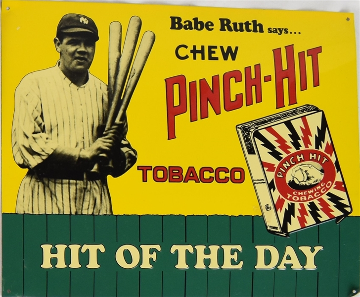 BABE RUTH 1991 PITCH-HIT TOBACCO EARLY 1900'S DESIGN TIN DISPLAY
