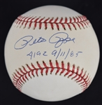 PETE ROSE SIGNED & INSCRIBED 4192 9/11/85 OML BASEBALL