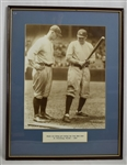 LOU GEHRIG & BABE RUTH FRAMED PICTURE RUTH TEACHES ROOKIE GEHRIG 1923