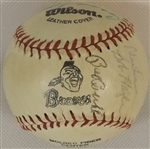 BRAVES TEAM LOGO BASEBALL SIGNED BY 15 INC. HANK AARON EDDIE MATHEWS HURRICANE HAZLE