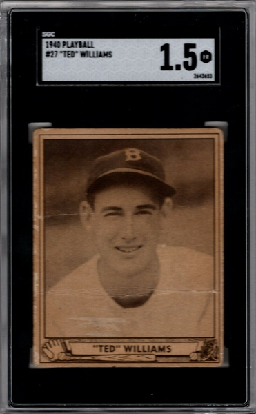 1940 PLAY BALL #27 TED WILLIAMS SGC 1.5