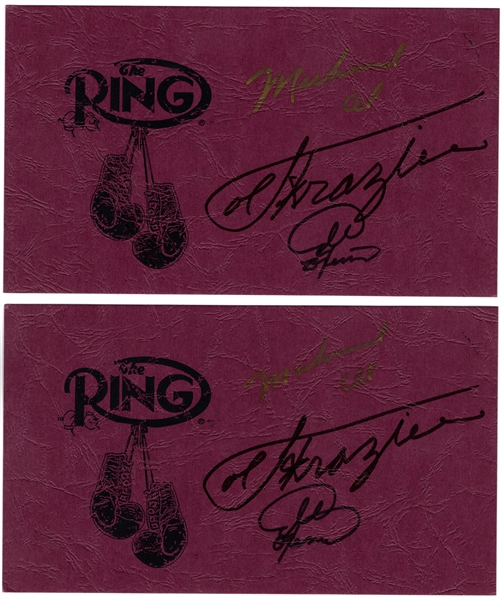 (2) MUHAMMAD ALI JOE FRAZIER & GEORGE FORMAN SIGNED THE RING AUTO CARDS