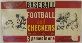 --1962 VINTAGE PARKER BRO. BASEBALL FOOTBALL AND CHECKERS 3 GAMES IN ONE BOARD GAME