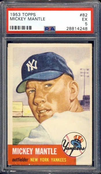 1953 TOPPS #82 MICKEY MANTLE SHORT PRINT PSA 5