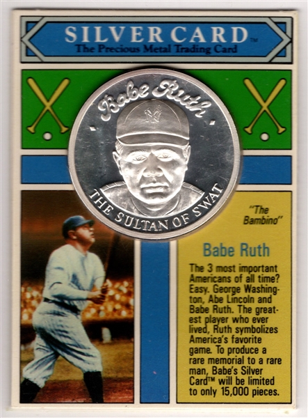 1992 SILVER CARD BABE RUTH 1 TROY OZ. .999 SILVER