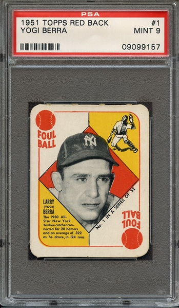 1951 TOPPS RED BACK #1 YOGI BERRA MINT PSA 9 NONE HIGHER
